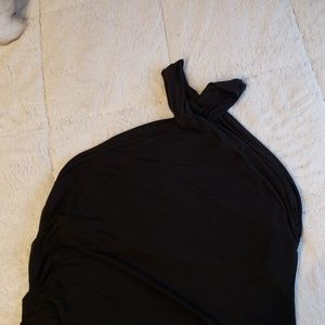 Black asymmetrical halter dress